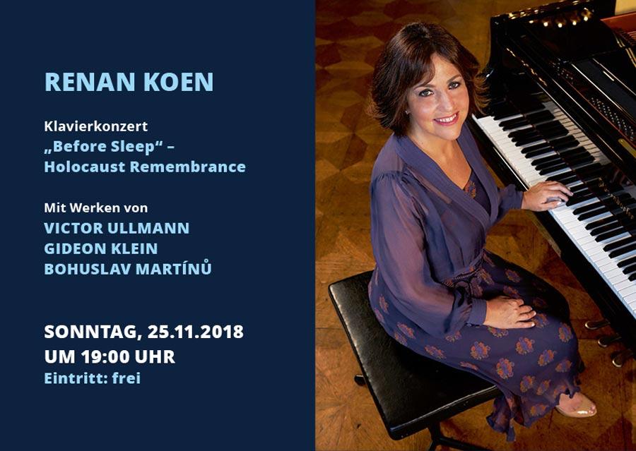 """Die international erfolgreiche Pianistin und Komponistin Renan Koen tritt mit ihrem Zyklus """"Holocaust Remembrance/Before Sleep"""" erstmalig in Berlin auf"""